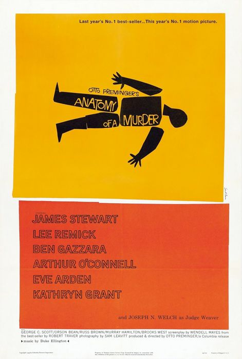 """""""Anatomy of a Murder"""" (Otto Preminger, 1959). Based on the novel by Robert Traver"""