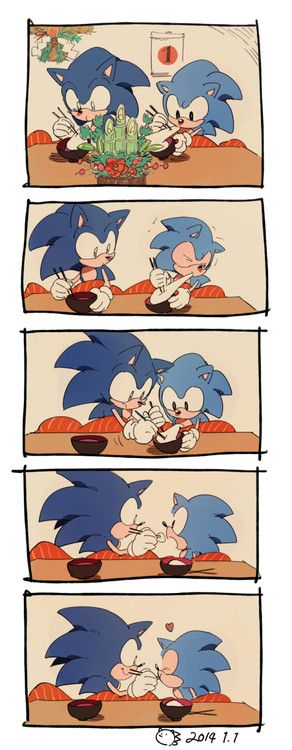 Modern Sonic feeding Classic Sonic. This is just too adorable beyond belief!
