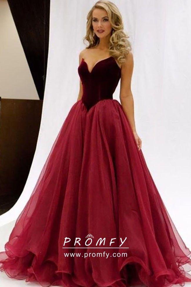 4b5c401da706 Burgundy and Crimson Basque Waist Velvet and Tulle Classic Ball Gown ...