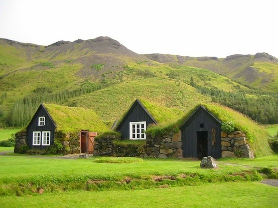 Turf houses, Iceland. I have personally seen these. Fascinating!!