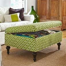 DIY Storage Ottoman would be great for the living room