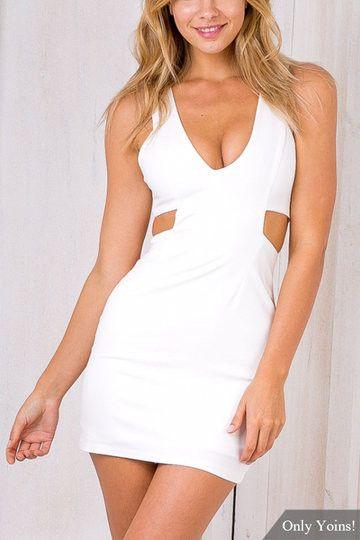 White V-Neck Cutout Back Zipper Mini Dress