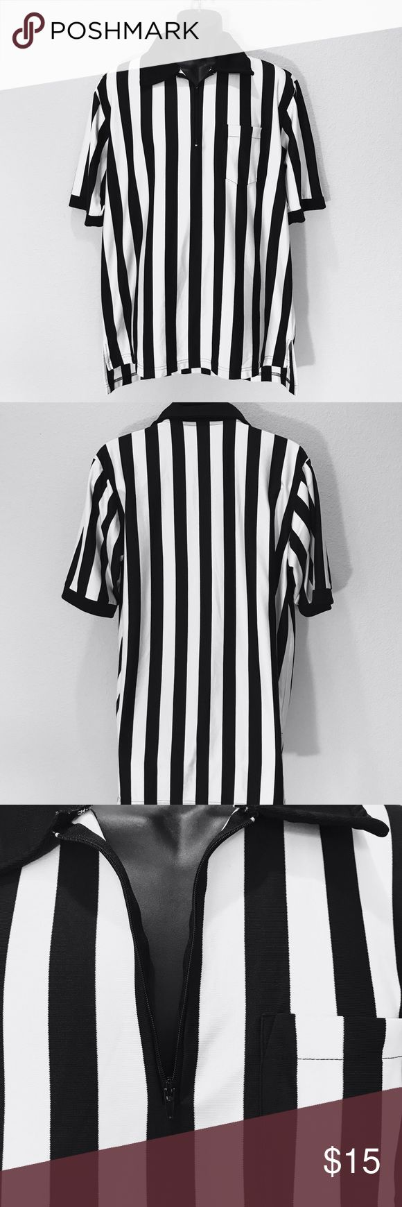 SMITTY REFEREE SHIRT QUARTER ZIP XL Smitty Referee Quarter Zip Collared Jersey Tee Mens XL  Armpit to armpit: 24in  Length: 32in  No holes, no stains, no rips, no stretch or pulls in fabric, worn only a handful of times. All items are in great used condition and come from a pet and smoke free home.    ITEM A7 Smitty Shirts Tees - Short Sleeve