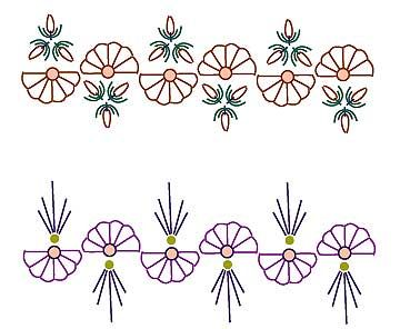 (2&3) BUTTONHOLE wheels can be arranged in a number of ways. The FIRST EXAMPLE is interspersed with TULIP STITCH (which is an arrangement DETACHED CHAIN with two loops threaded under the tie) the SECOND EXAMPLE is interspersed with STRAIGHT STITCH arranged in a ray. FRENCH KNOTS, sequins or beads can be placed in the middle. by Sharon Boggon