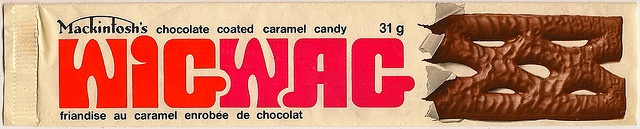 WigWag Candy Bar--LOVED these! 'Curly Wurly' bars made by Cadbury in England are close, but the caramel is different. :-(