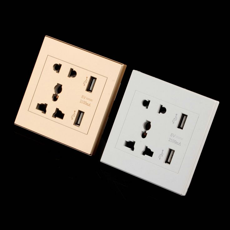 Hot Dual USB Port Electric Wall Charger Dock Socket Power Outlet Panel Plate   white Wholesale