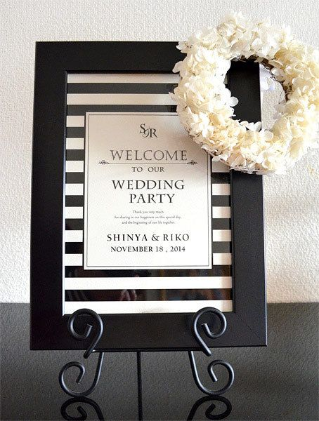 モノトーンで洗練された印象に。個性的な結婚式に♡モノトーンのウェルカムボードまとめ一覧♪