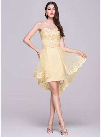 A-Line/Princess Sweetheart Asymmetrical Detachable Satin Tulle Homecoming Dress With Appliques Lace