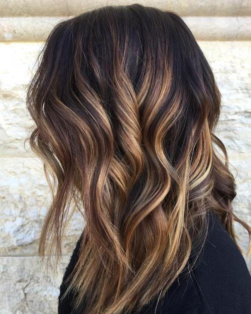 Layered dark brown Hair With Bronde Balayage