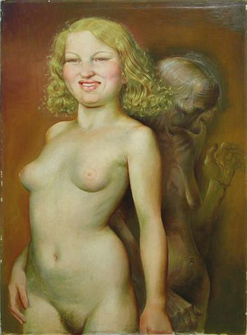 Otto Dix -  Vanitas (Youth and Old Age) - painting   1932