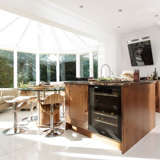 Be Inspired By An American Black Walnut Conservatory Kitchen