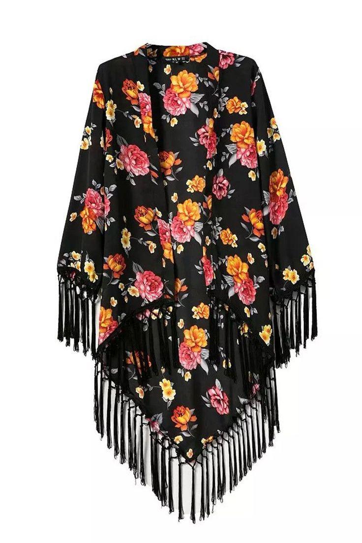 Fringed Floral Printing Kimono