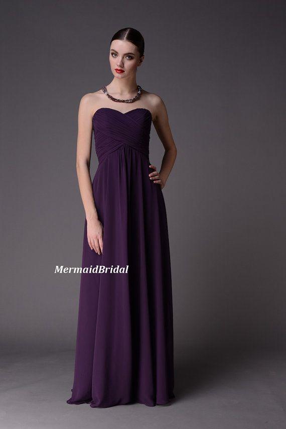 Simple Eggplant Chiffon Long Bridesmaid Dress By MermaidBridal Wed