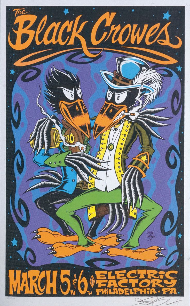 Alan forbes black crowes 1999 concert poster limited edition signed rare