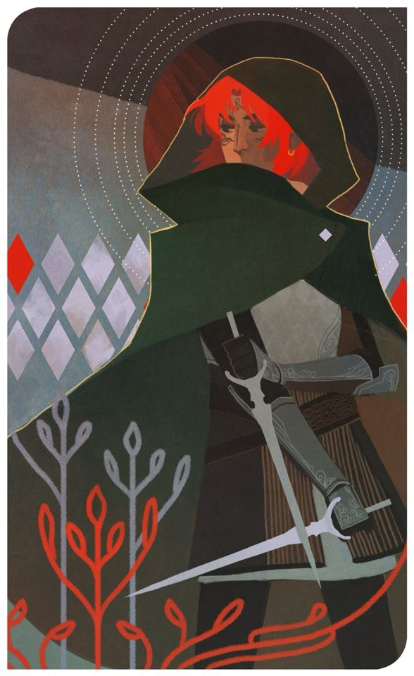 Kvothe from KKC in the style of DragonAge tarot card art???!! SQUEE~