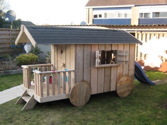 Fonkelnieuw Houten pipowagen / speelhuis op maat voor de kinderen | Garden JW-08