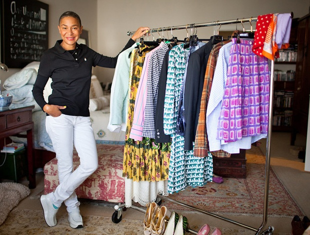 Lisa Crawford's colorful wardrobe includes Chanel skirts, printed Heron dresses, Ralph Lauren madras, and Thomas Pink shirts.