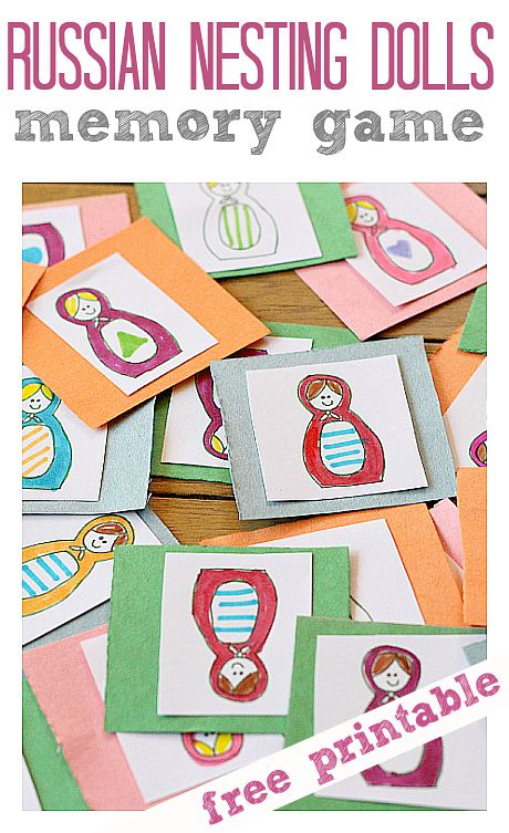 Cute Russian Nesting Doll Game - use the FREE Printable linked in the post to make your own!