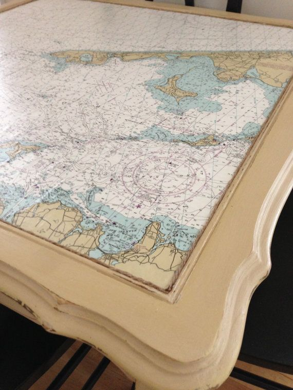 Vintage Square Table with Nautical Chart Map via Etsy $135 - love this for refurbishing a table