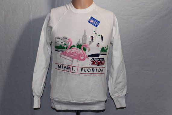 Vintage Deadstock Super Bowl XXIII Crewneck by SouthsideThrowbacks. Perfect if you're lacking flamingos in your wardrobe  #vintage #crewneck #fashion