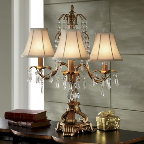 Gold ivory chandelier lamp from midnight velvet