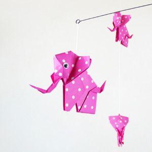 Mobile bébé origami éléphants