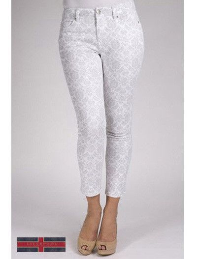 Liverpool Jeans Company grey/white print cropped petite jean.
