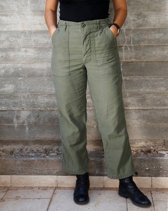 Vintage 80s Pants Army Trouser Utility OG-507 30 X 35 Issued Taper NEW USGI