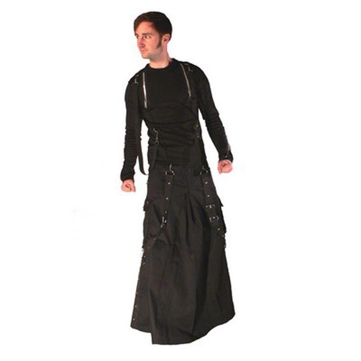 Bondage Herrenrock aus schwarzer Baumwolle mit Bondageriemen