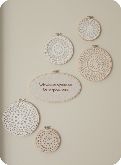doilies in embroidery hoops