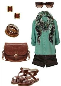 Spring outfit except the shorts need to be capris....they are too short!