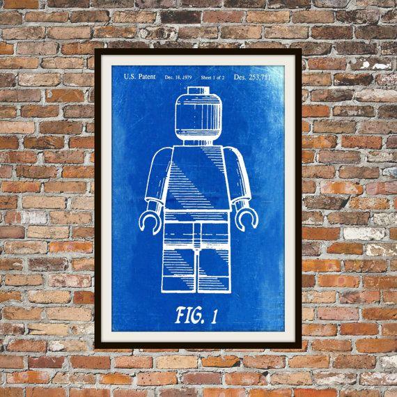 Lego Patent  blauwdruk kunst van een van BigBlueCanoe op Etsy