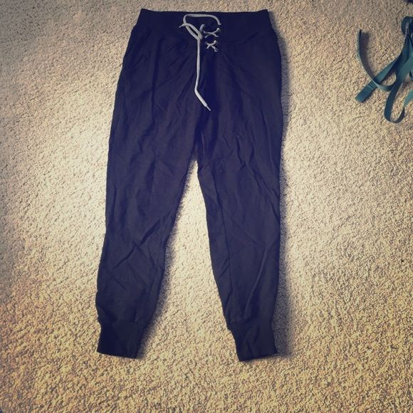 Joggers for sale! These joggers are black with grey ties at the top. Super comfortable! Only worn a few times! LA Hearts Pants Track Pants & Joggers