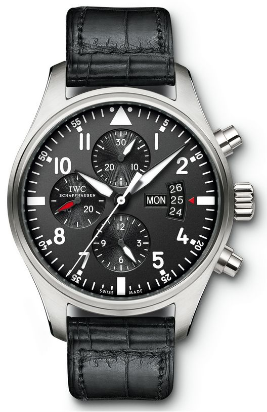 IW377701  NEW IWC PILOT'S CHRONOGRAPH AUTOMATIC MENS WATCH    Usually ships within 8 weeks - FREE Overnight Shipping - NO SALES TAX (Outside California)- WITH MANUFACTURER SERIAL NUMBERS- Black Dial- Day