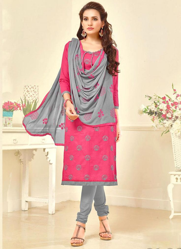 Perfervid Embroidered Work Cotton   Pink Churidar Suit
