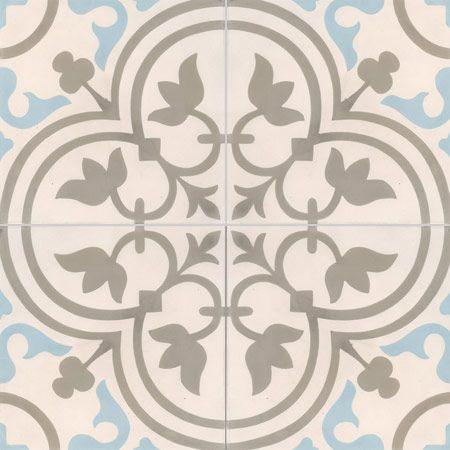 pour l'entrée : Carreaux de ciment - décors 4 carreaux - Carreau NORMANDIE 07.36.06 - Couleurs & Matières