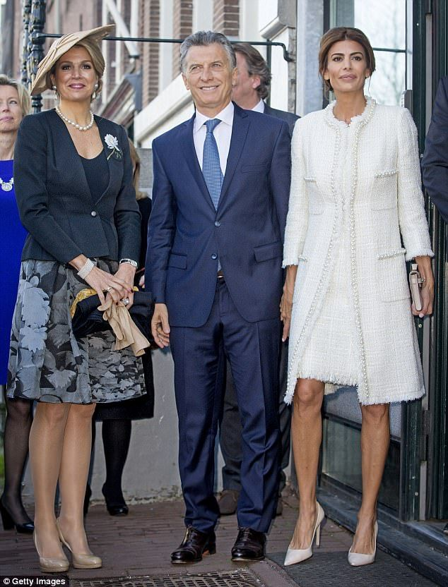 Visit: The queen, President Marci and First Lady Juliana Awada outside the Anne Frank Hous...
