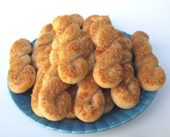 Cinnamon-Sugar Twist Cookies Recipe, adapted from a Joy of Cookies recipe for Greek Easter Cookies (Koulourakia).