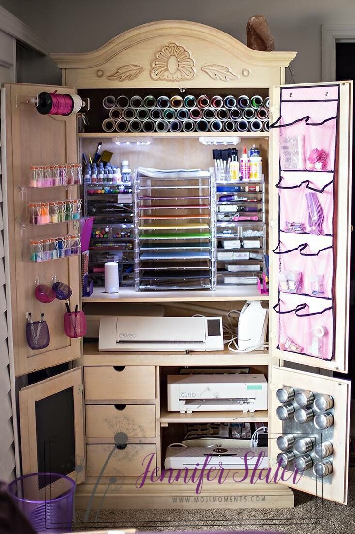 Scrapbook / Vinyl / Silhouette Craft Organization and Storage. I took this old armoire and turned it in to crafting hearts dream. On Top is PVC to hold vinyl, 12 x12 paper trays, acrylic makeup organizers, acrylic paper towel holder, acrylic spice rack, shoe rack, and metal strips for magnetic spice jars.