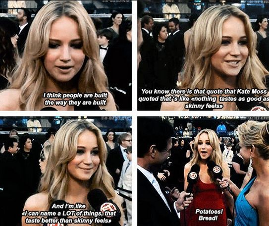 And was very honest about her love of food. | 22 Times Jennifer Lawrence Was The Badass Woman You Aspire To Be