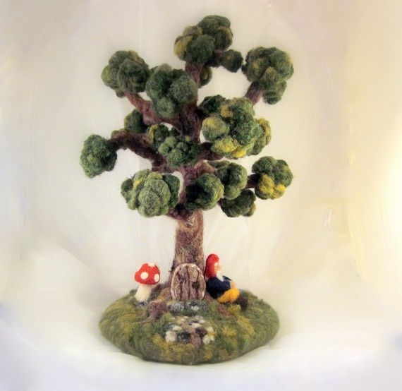 Custom Needle Felted Gnome Tree Scene Pre by NAsHandcraftedGifts,