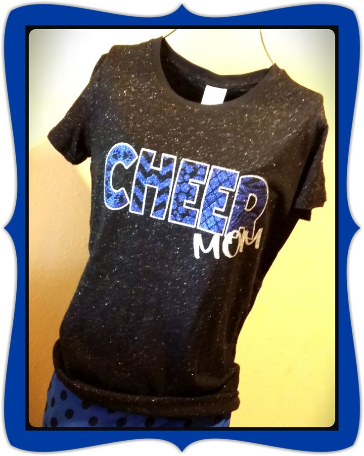 Custom glitter tee shirt - 2 color glitter vinyl cheer mom shirt by No Bow... No Go by nobownogo on Etsy
