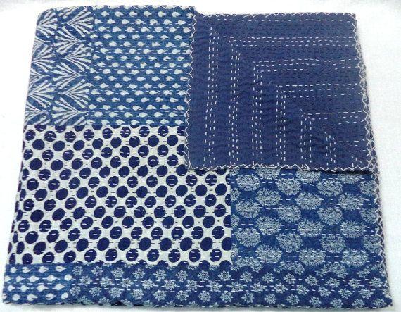 Beautiful Indigo Kantha Quilt with Hand Block Print and Patchwork Design,Queen Size Cotton Handmade Kantha Quilt Indigo