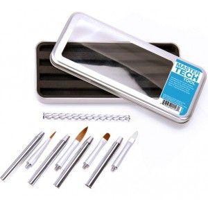 Accesorios uñas acrílicas - Cuccio Colour Veneer - Kit Pinceles (Acrílico-Gel y Decoración)