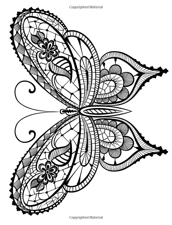 Adult coloring book butterflies and flowers stress for Coloring pages of butterflies for adults