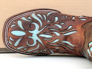LOVE...these may have to be my next pair...Stetson Cowgirl Boots Womens Mad Dog Goat w/ Lt Blue Inlay
