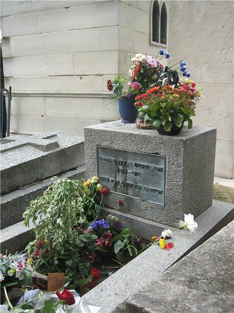 Pere Lachaise Cemetery in Paris, France - Grave of Jim Morrison ( Hailey brought home a few rocks that were laying near the grave for Denny, only Denny would love that lol)