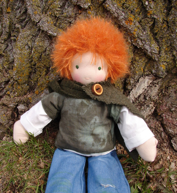 "Waldorf Doll Boy - redhead - Natural doll, made in the Waldorf tradition - 18 inch / 18"" / 45.7 cm. $112.00, via Etsy."