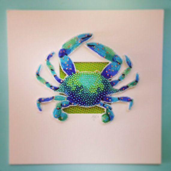 Perles brodées crabe bleu par Epigman sur Etsy