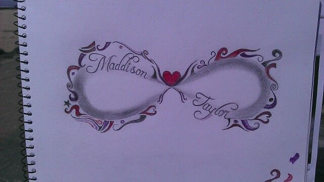 infinity tattoo design with two childrens names in shaded section and